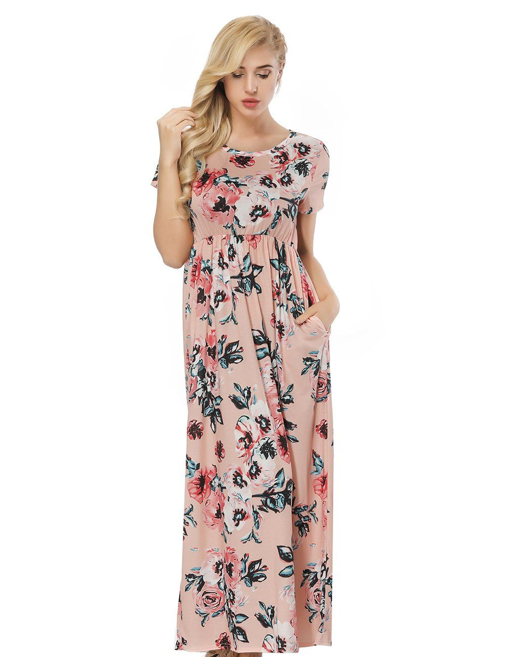 Slender orange round neck floral printed dress ruffle waist