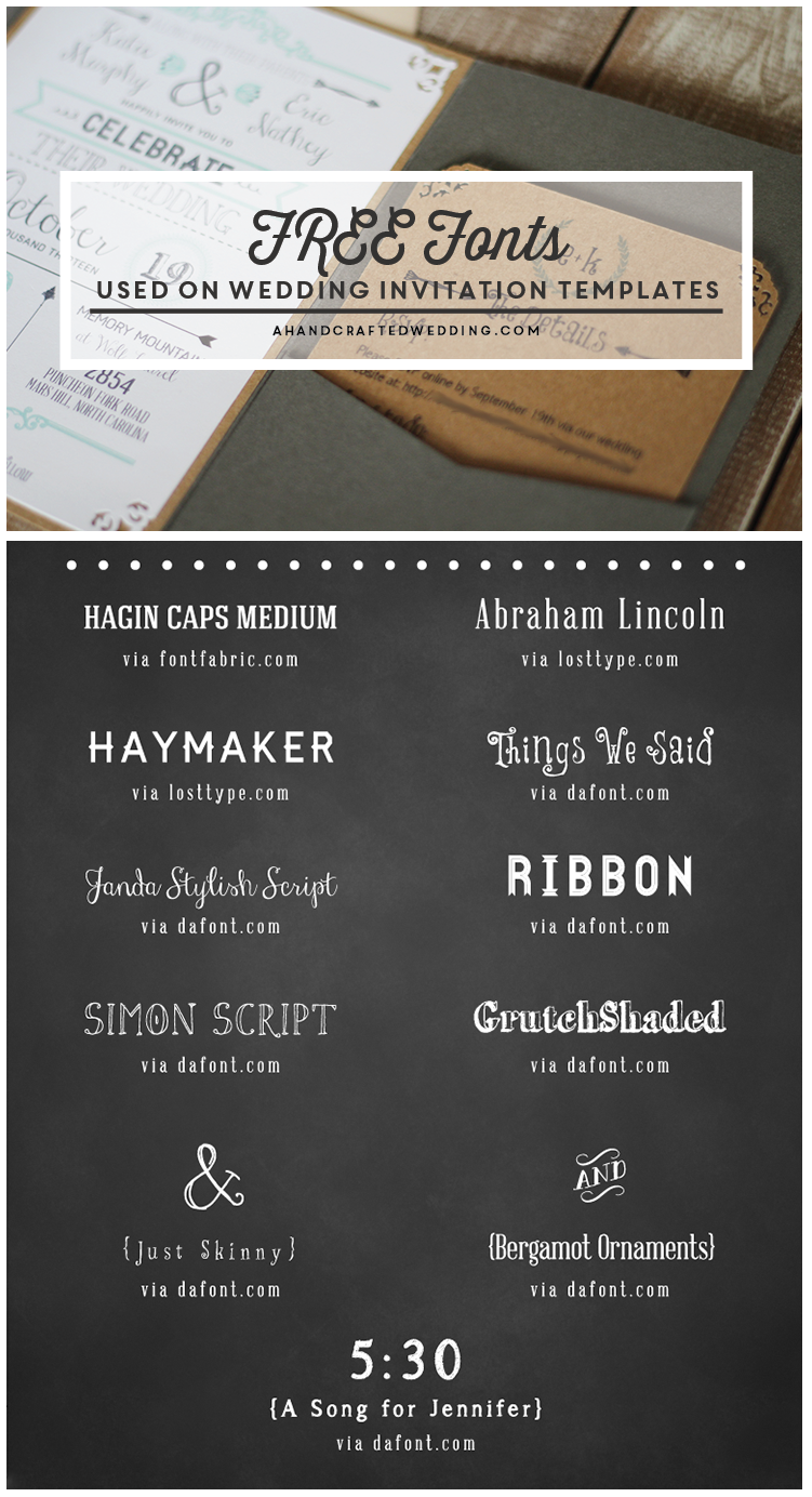 Free Fonts To Use On Rustic Or Vintage Inspired Invitations A Printable Wedding Invitation And Details Card Ahandcraftedwedding