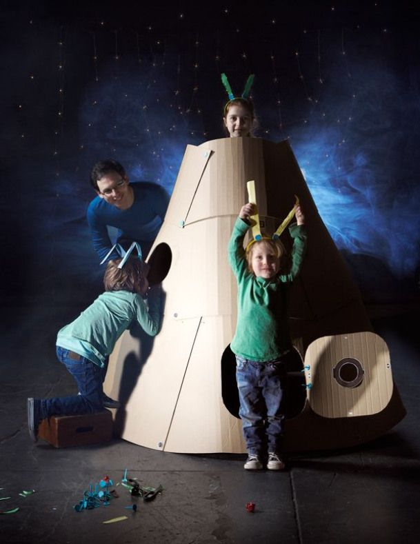 Create a space pod or even a large teepee from cardboard boxes...