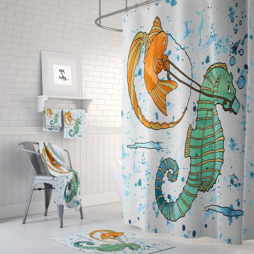 Thanks For The Ride Seahorse Shower Curtain Curtains Shower
