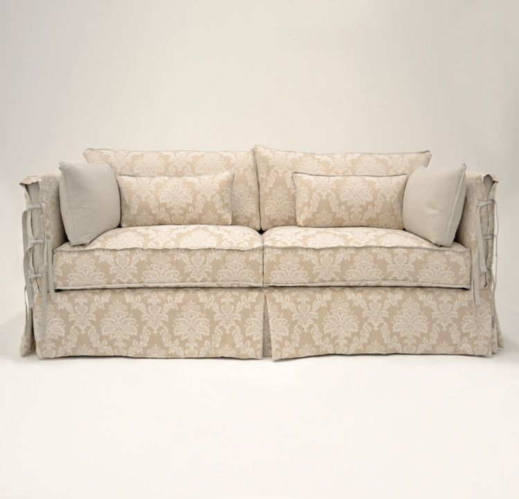 Quatrine Custom Furniture Cau Slipcovered Sofa Neutral Damask Washable