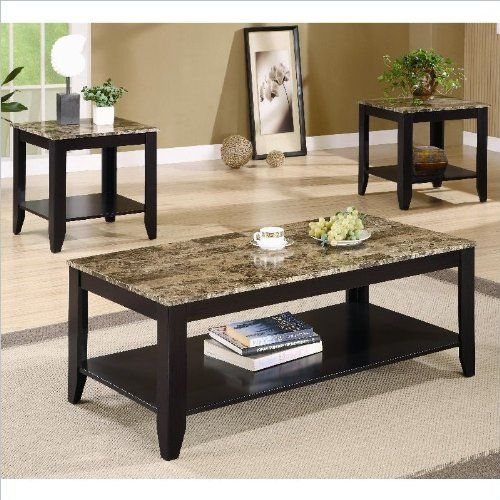 Best Coaster 3Pc Coffee Table End Table Set Faux Marble Top 640 x 480