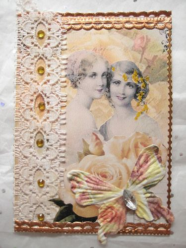Vintage ATC with a Yellow Rose