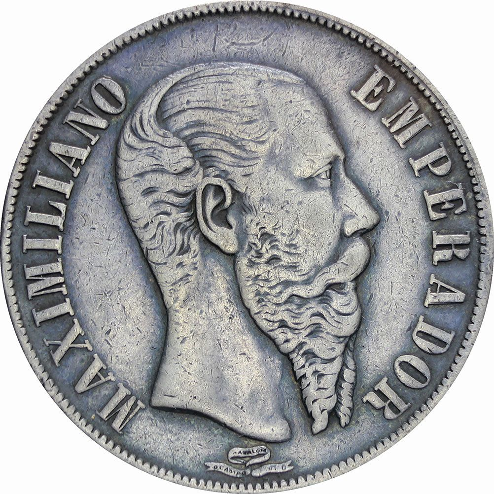 1 peso Silver Maximiliano Coin 1867 Moneda Maximiliano 1 peso Plata