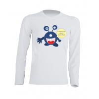 Camiseta Manga Larga Monstruo Blanca