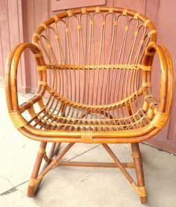 Lovely Vintage Rattan Bamboo Settee Lounge Chair Table Outdoor Indoor Patio  Furniture