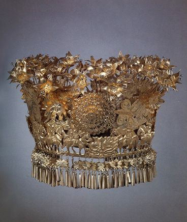 China | Festival Crown from the Long Skirt Mountain Miao people of Langde Village, Leishan Country, Guizhou Province | Silver