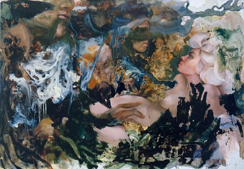 by: angela fraleigh,   all consequence as soon forgotten.  8 x 12ft oil on canvas 2005
