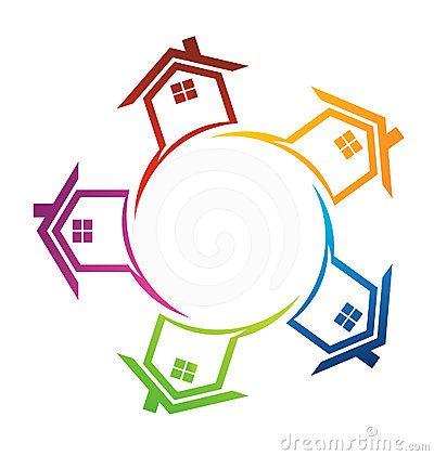 Houses Around A Circle Logo Circle Logo Graphic Design Logo Logo Home