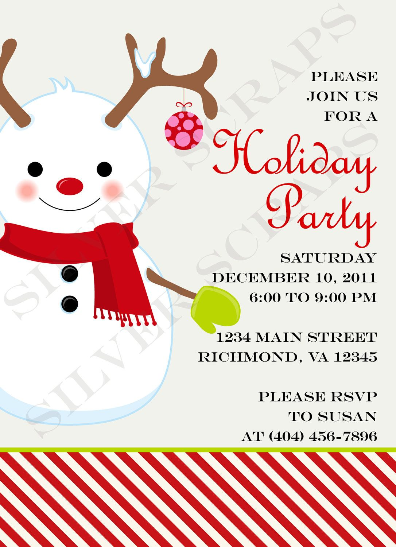 Large Snowman Christmas Party Invitation - Custom, Holiday, Winter ...