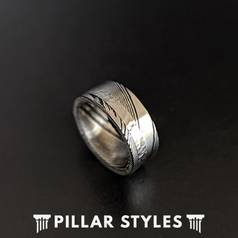 Damascus Steel Ring With Hammered Inlay 8mm Damascus Ring Unique Mens Wedding Band Damascus