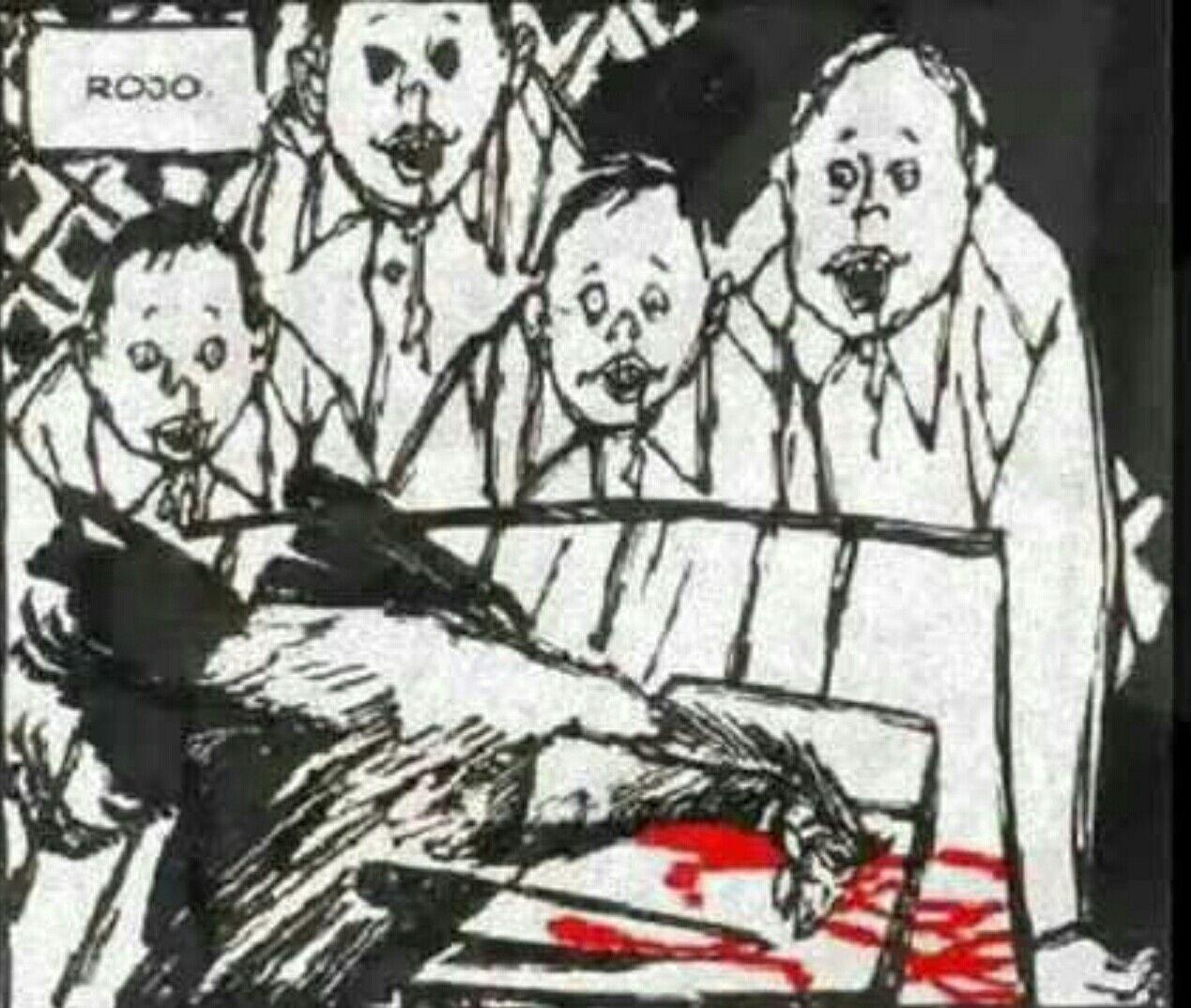 Los hermanos idiotas mirando como mata la sirvienta a la gallina. Yareli