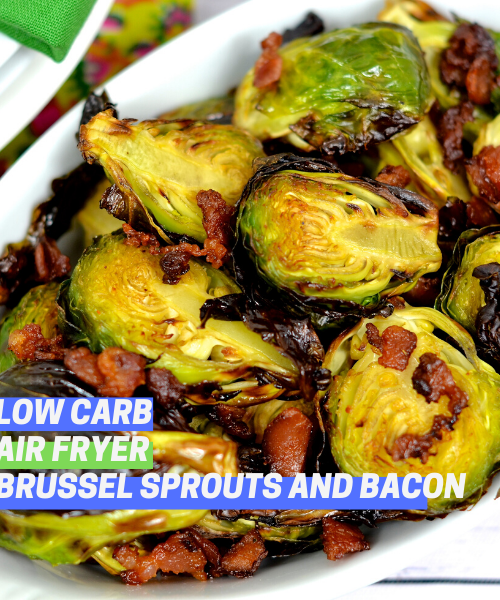 You Won T Believe Our Air Fryer Brussel Sprouts With Bacon Low Carb Keto Friendly Recipe Bacon Brussel Sprouts Sprouts With Bacon Brussel Sprouts