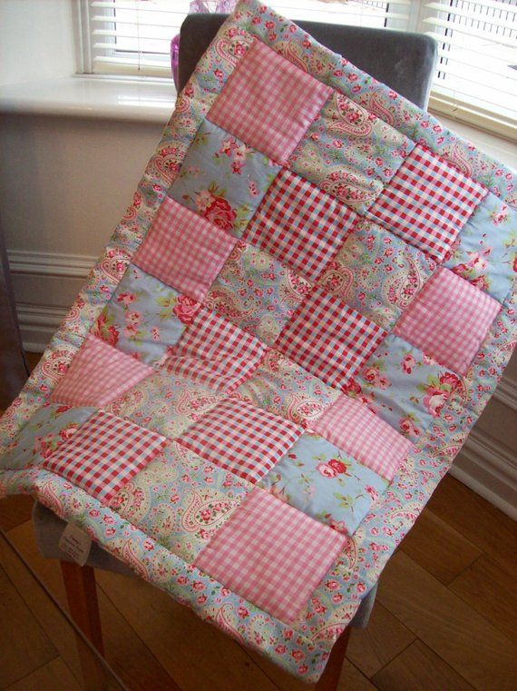 Patchwork Quilt Quilted Cot Blanket Handmade Vintage Style Nursery Baby Quilt Photo Prop Crib Quilt Playmat Tummytime Baby Shower Gift