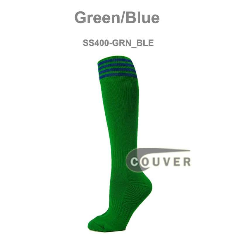 42c93a9cd COUVER Youth Nylon Striped Green Sports Knee Socks -Green Blue - 3Pair Pack    COUVER SWEATBANDS   SOCKS