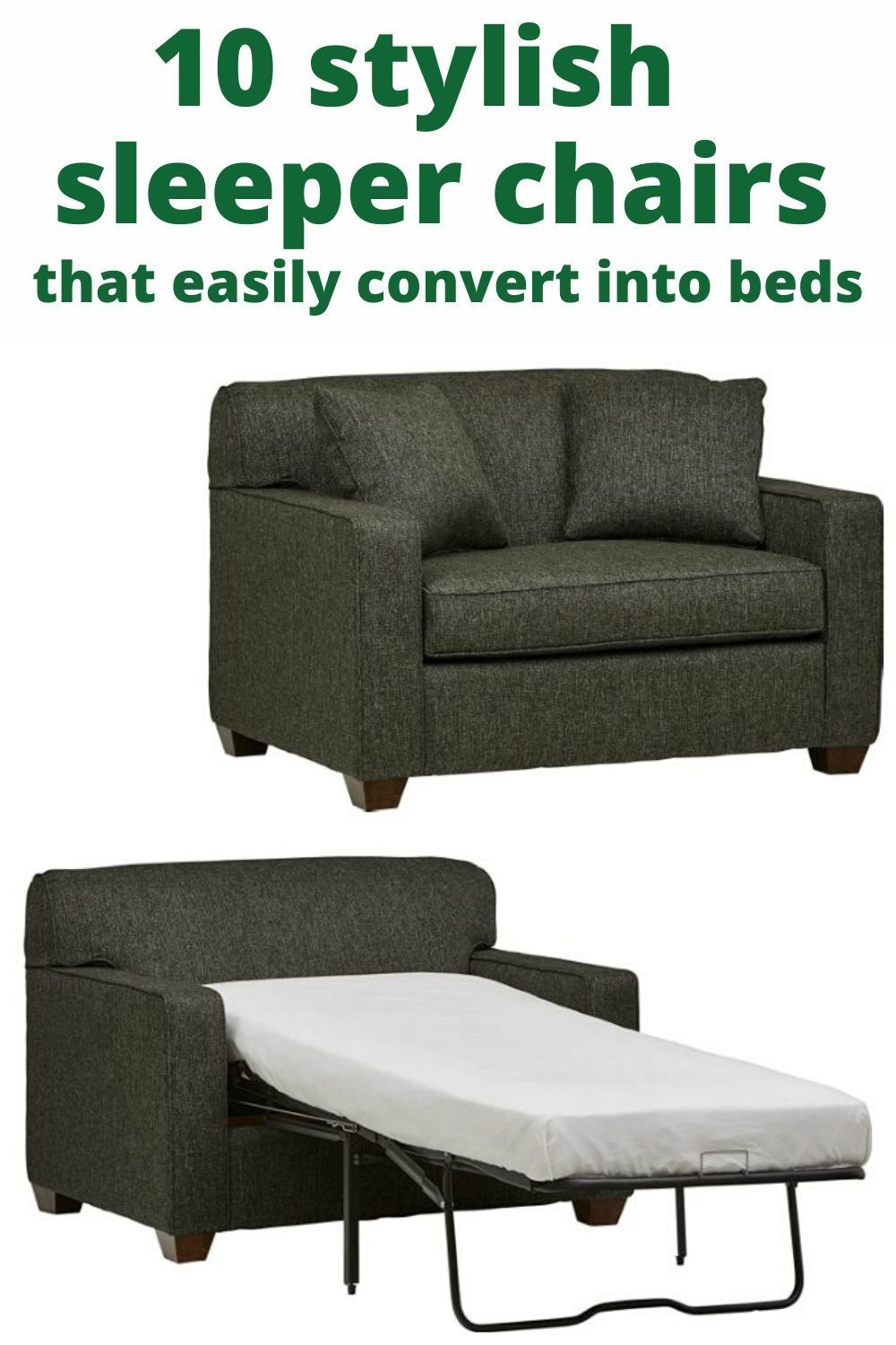 10 Stylish Sleeper Chairs That Easily Convert Into Beds Living In A Shoebox Sleeper Chair Futon Chair Futon Chair Bed Chairs that convert to beds