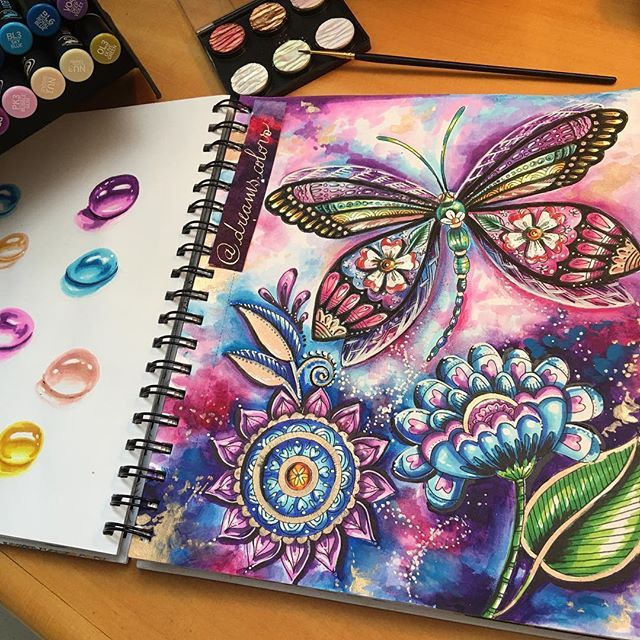 Stunning Page By Dreams Colors Using Their Chameleon Pens Adultcolouring Adultcoloring Colouringbook Color Butterfly Art Drawing Chameleon Art Marker Art