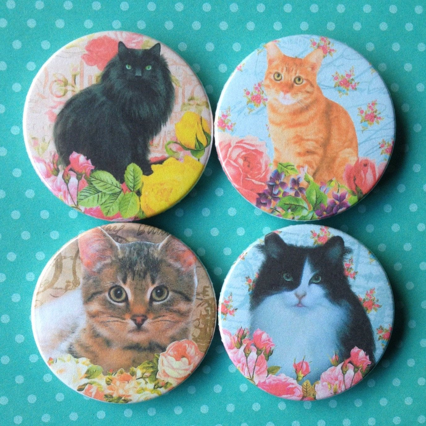 Cat Magnets, fridge magnets, refrigerator magnets, cats, funky cats ...