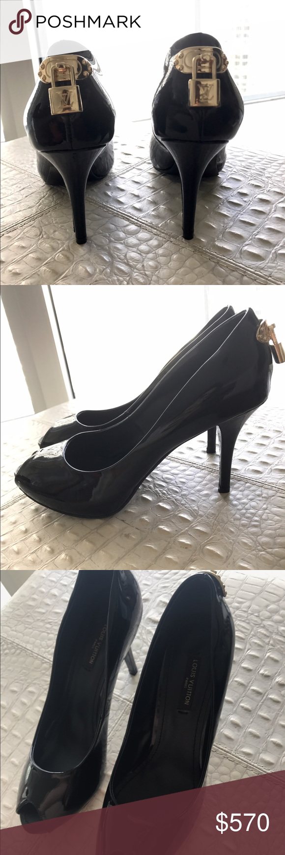 0657b80936 Louis Vuitton black oh really! Heels size 38 Blackleather Louis Vuitton Oh  Really! Black leather peep-toe pumps with gold-tone lock adornment on back.