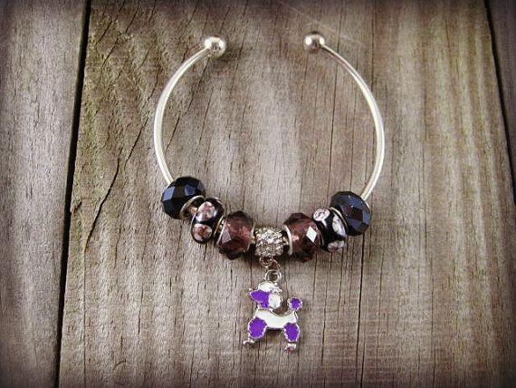 Purple Poodle Charm Bracelet European Cuff Bracelet by MysticGemz