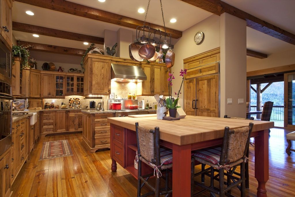 Country Kitchen with Limestone, Exposed beam, flush light, Kitchen