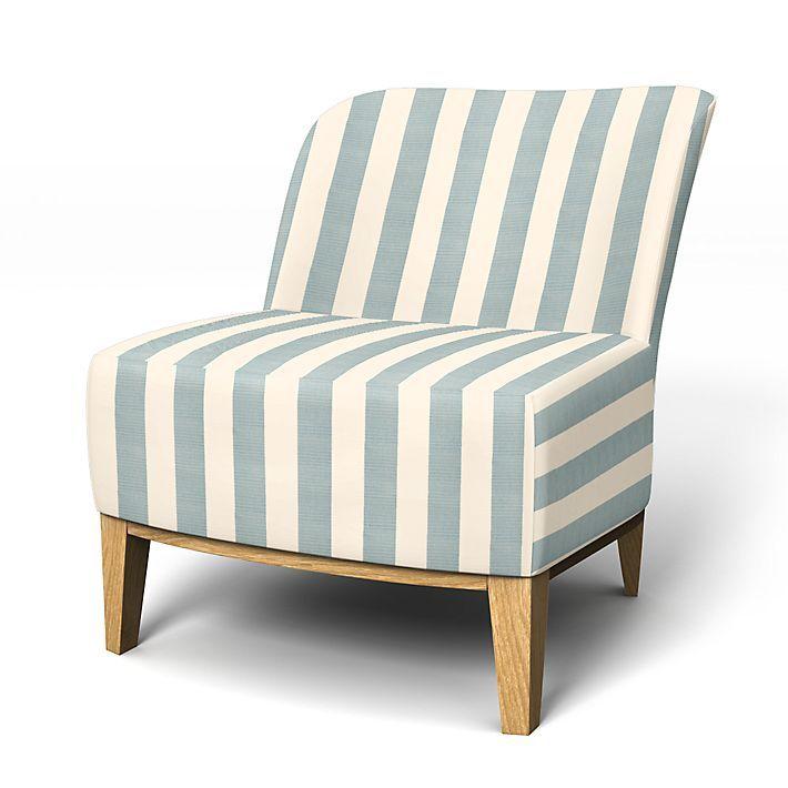 Stockholm, Sesselbezüge, Regular Fit - kleiner Sessel diesen Stoff anwenden Stockholm Stripe Mineral Blue/Soft White