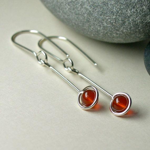 549a9ff30 Carnelian Sterling Dangle Drop Earrings, Long Silver Dangle Earrings ...