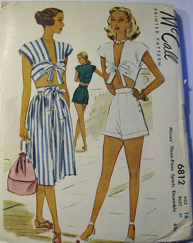1947 Summer 3 Piece Sports or Beach Ensemble McCall Pattern