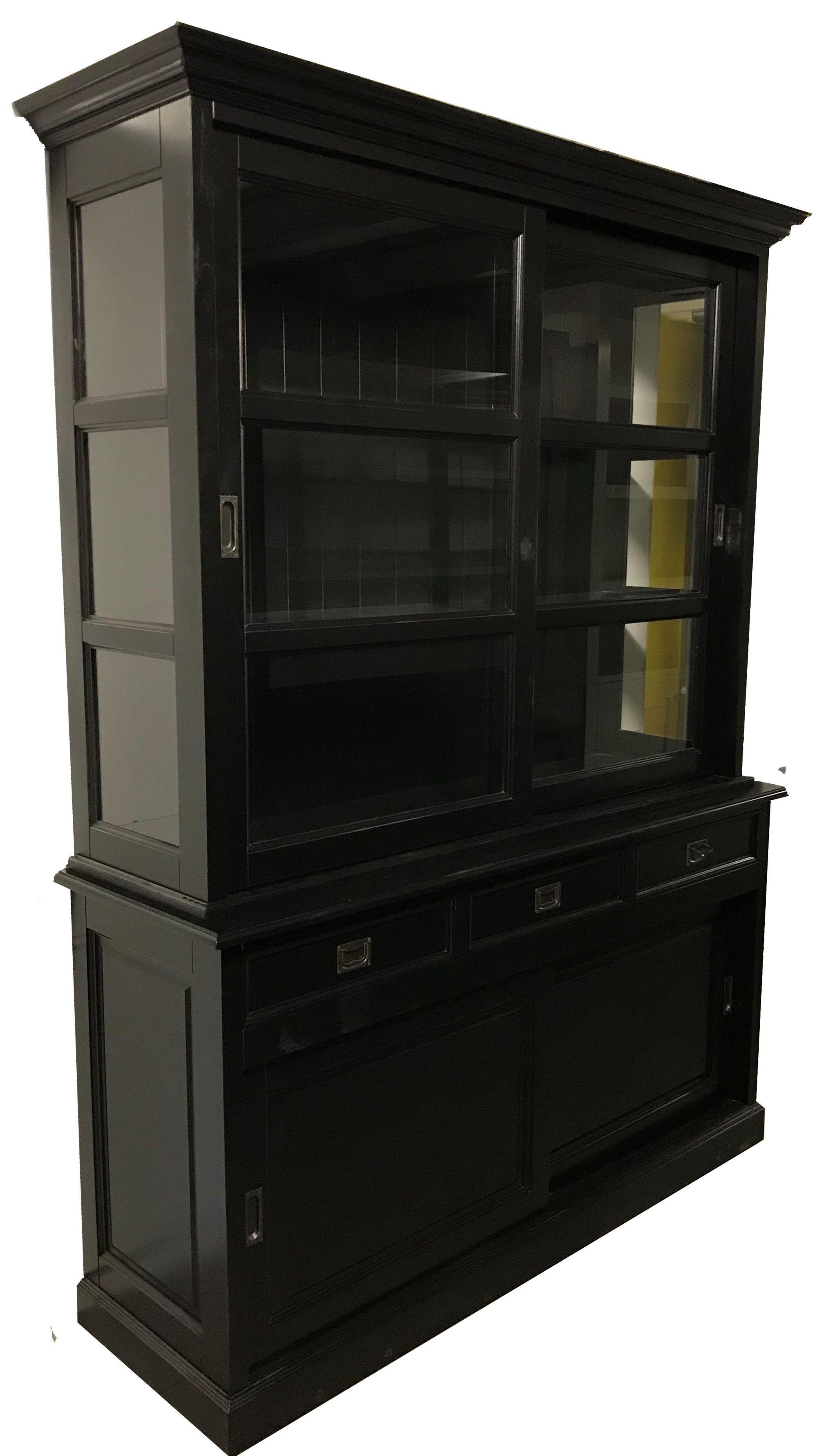Zwarte Dichte Kast.Buffetkast Zwart Zwart Montfoort 160cm Sfeervolle Kast Met