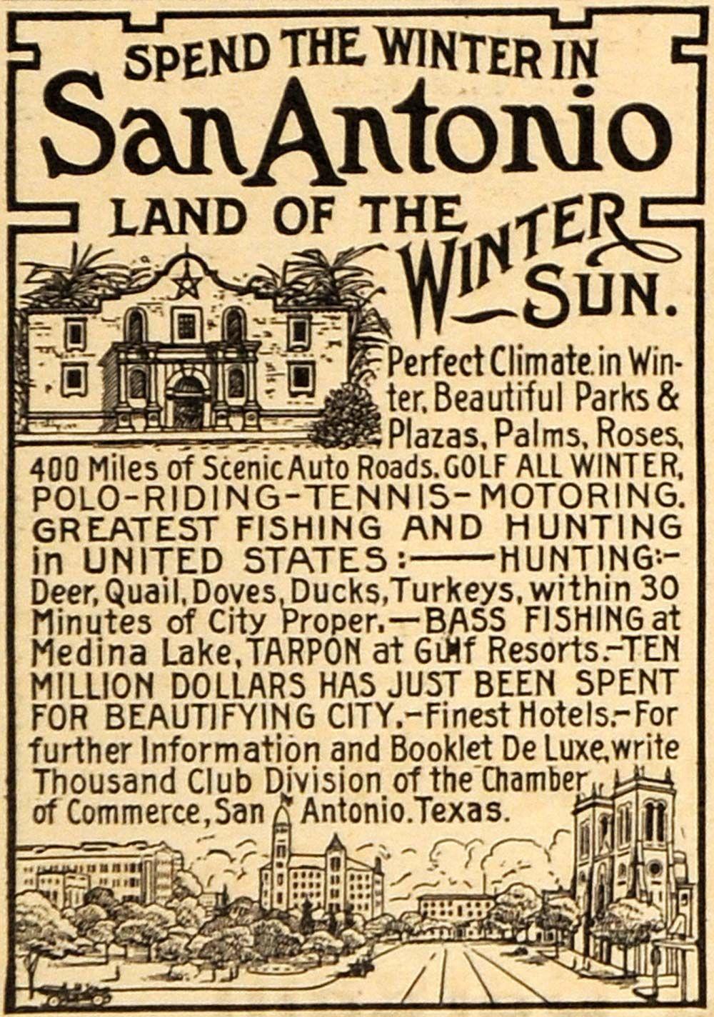 1915 Advertisement For San Antonio Texas Typography Alamo San