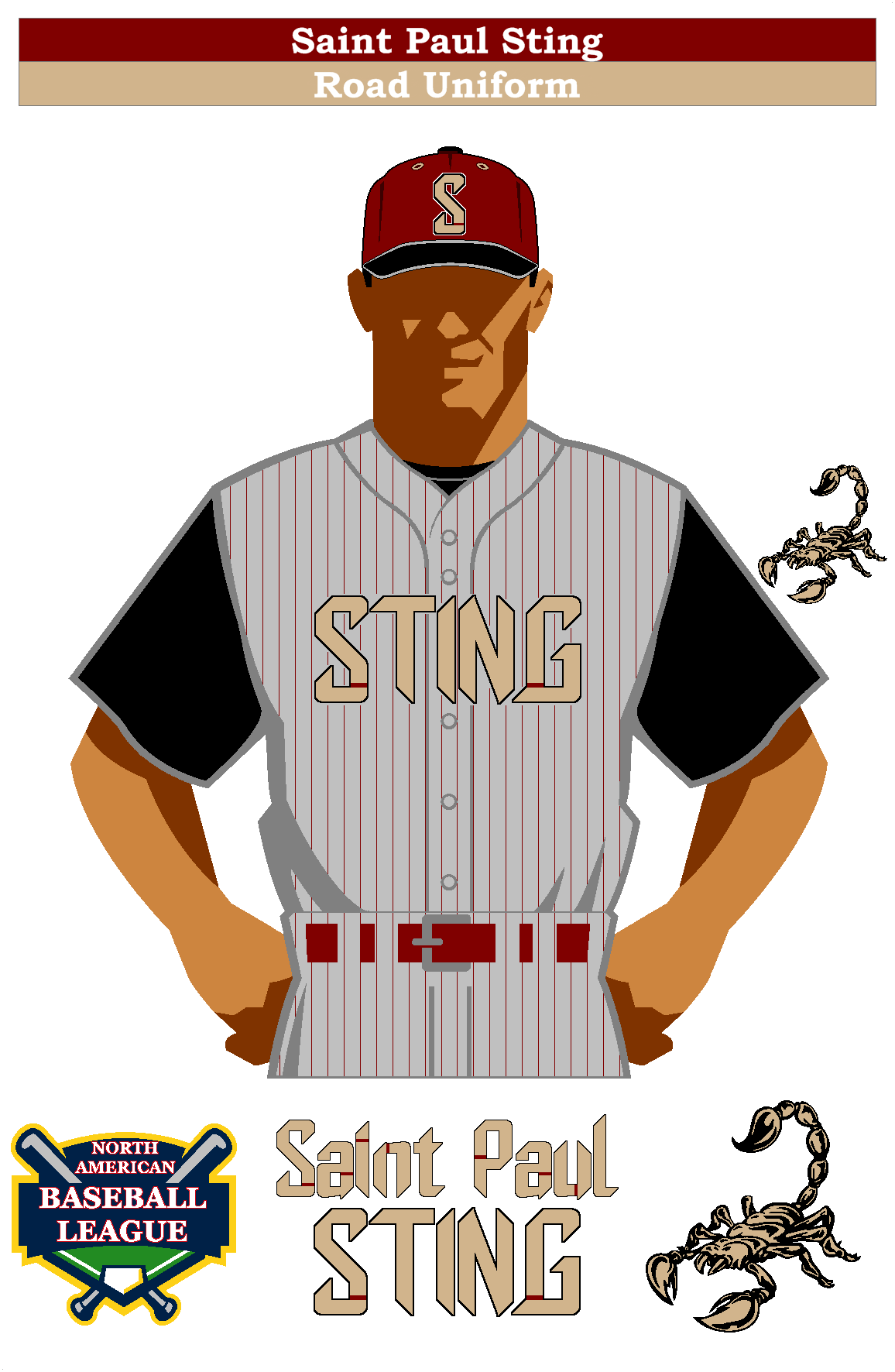 Saint Paul Sting Road Uniform Saint Paul Baseball League