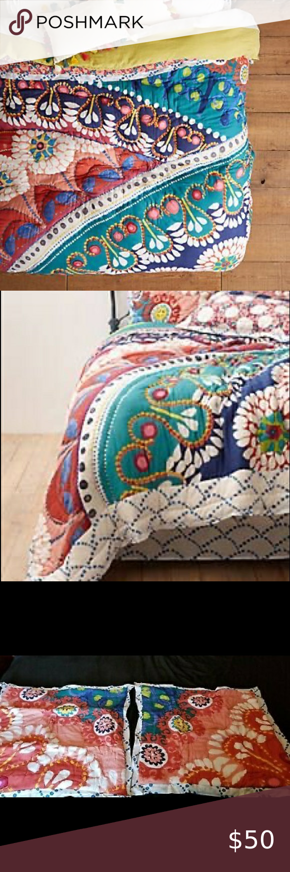 Zocalo Embroidered Quilt From Anthro In 2020 Embroidered Quilts Quilts Anthropologie Bedding