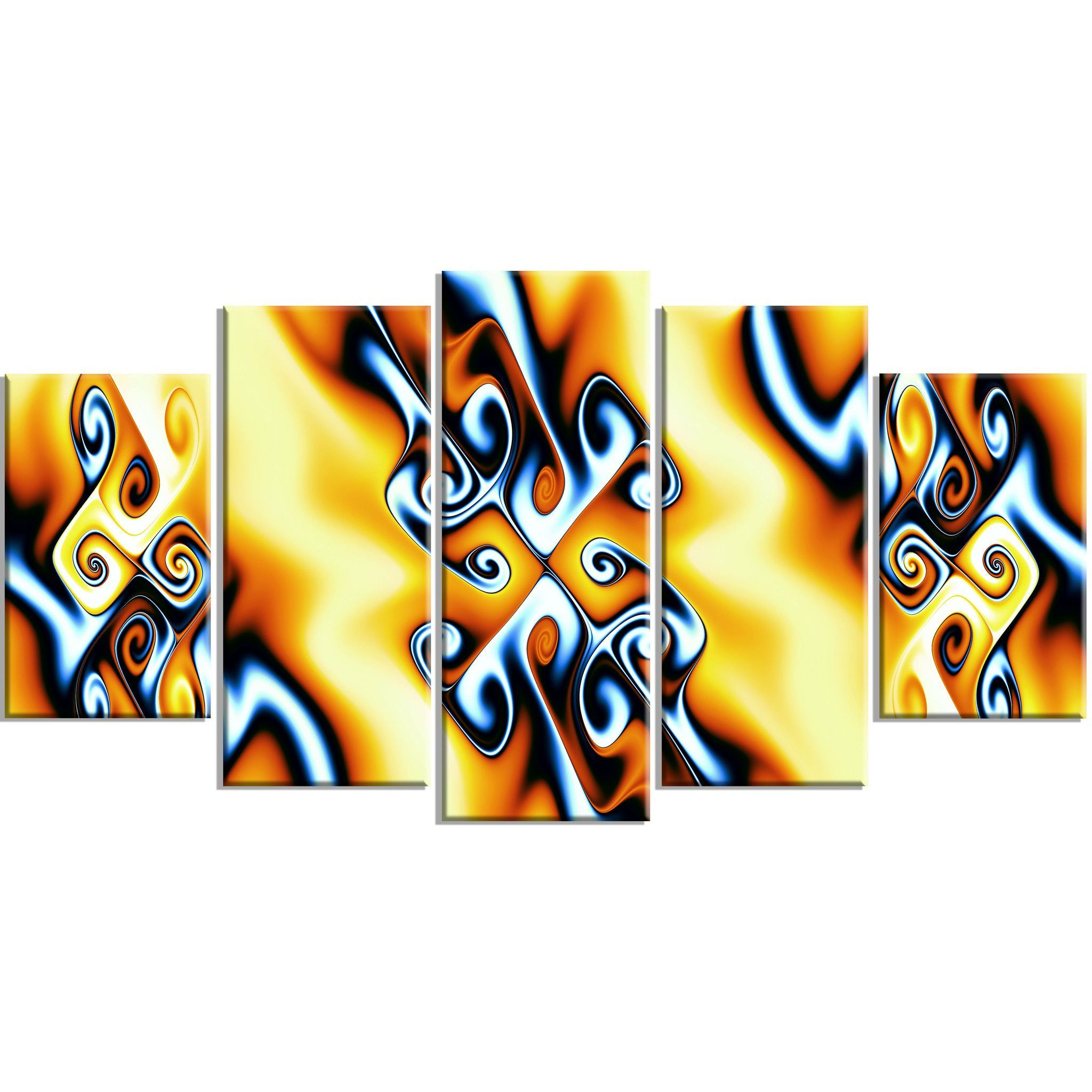 Yellow Abstract Twists Canvas Wall Art Print   Canvases and Products