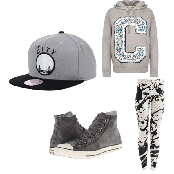 casual gray by onecoolone on Polyvore featuring polyvore fashion style Être Cécile Converse