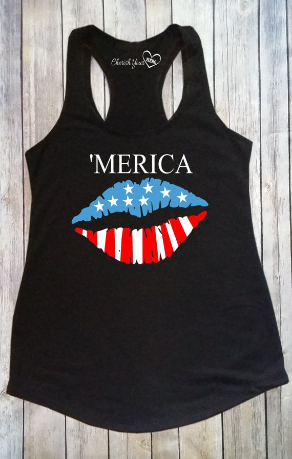 51176a77337b9f 4th of July Tank Top or Tee Merica Patriotic by CherishYourHero. 4th of July  Tank Top or Tee Merica Patriotic by CherishYourHero Fourth Of July Shirts