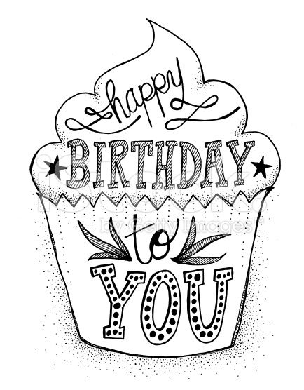 Hand Drawn Doodle Style Cupcake With Hand Lettered Happy Birthday With Images Hand Lettering Quotes Hand Lettering Lettering