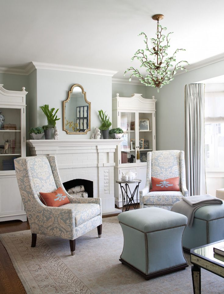 Interior Design By Kelly Keiser Robins Egg Blue Living Room With Flanking  Bookcases Http:/ Design Ideas