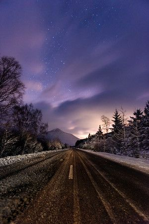 A winters night between Bridge of Orchy and Tyndrum in Scotland.