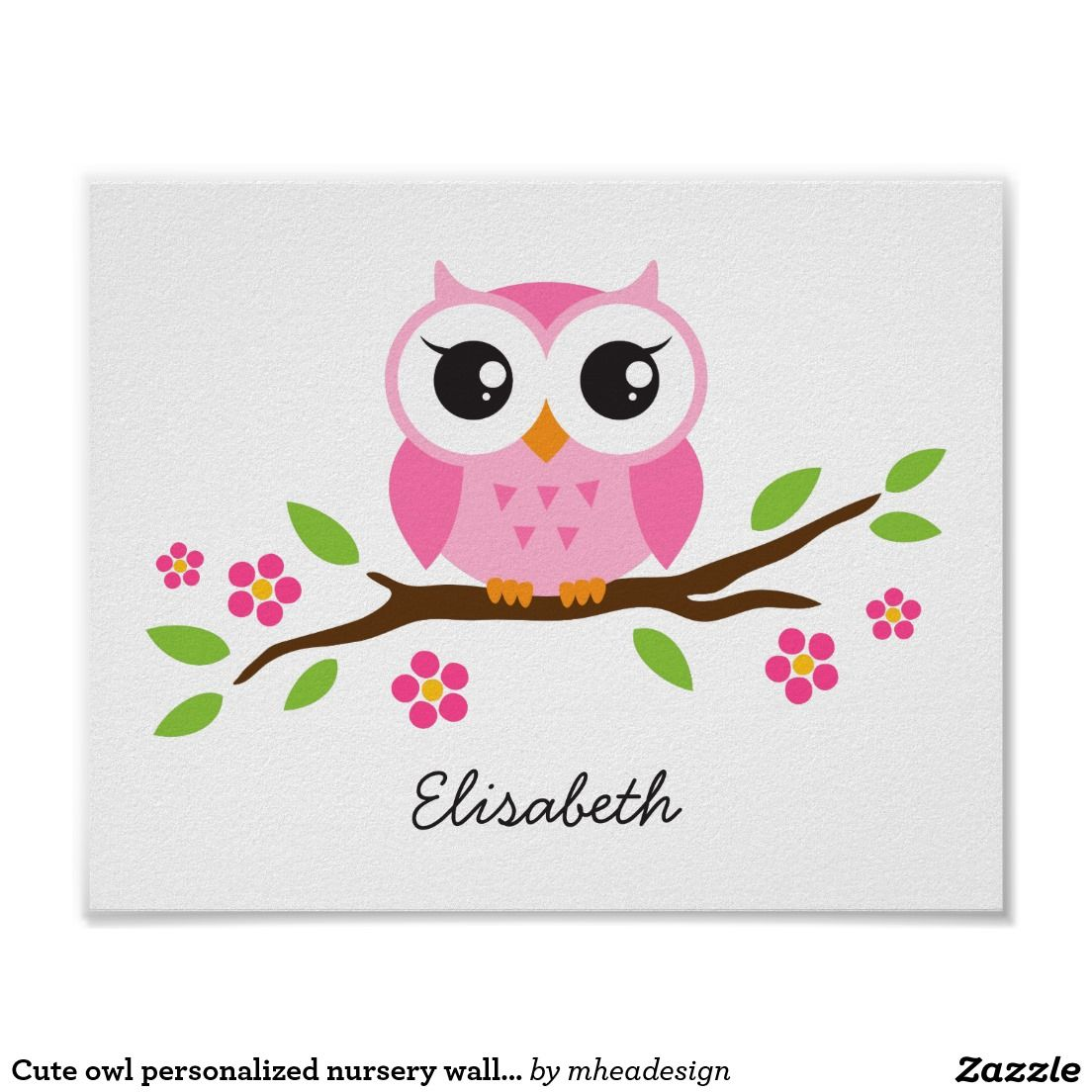 Cute Owl Personalized Nursery Wall Art For S Poster