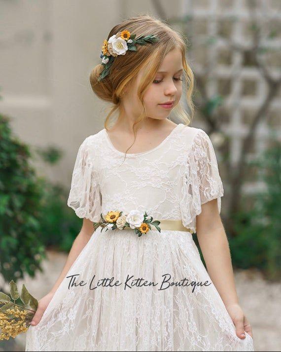 rustic flower girl Ivory lace flower girl dress Beach Flower dress boho flower girl dress flower girl dresses Bohemian Flower girl