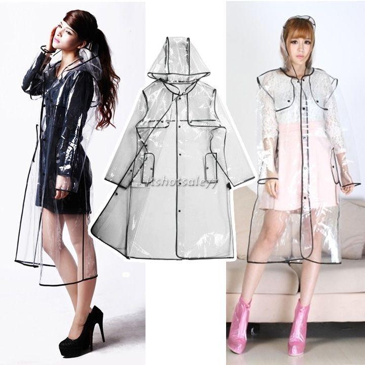 ca188d6921b Fashion Long Clear Transparent Runway Jacket Rain Coat Men Womens Girl  Raincoat