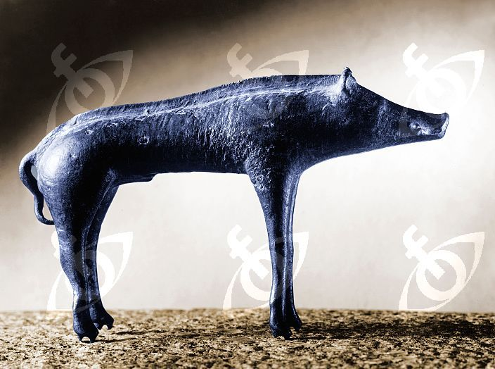 Bronze statue of a boar in the La Tene style. In Celtic iconography the boar symbolised not only fertility and wealth but also masculine power, courage and strength in warriors. Country of Origin: Czech Republic. Culture: Celtic. Date/Period: 2nd-1st C AD.