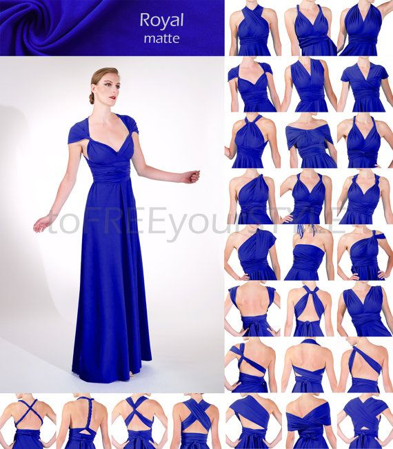 Long Convertible Dress In Royal Blue Matte A Line Free Style
