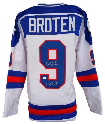 Sports Integrity 11063 Neal Broten Signed Custom 1980 Usa Hockey Miracle On Ice Jersey 1980 Gold Jsa Usa Hockey Team Usa Hockey Olympic Hockey