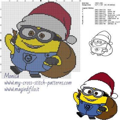 Schema punto croce Minion Natale 100x98 9 colori.jpg (2.53 MB) Mai osservato