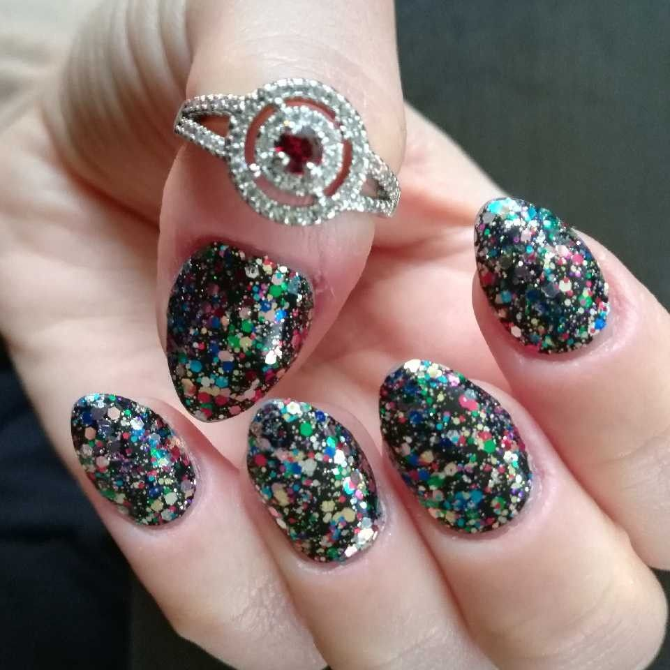 Short nails, acrylic almond shape, color street, Broadway Glimmer ...