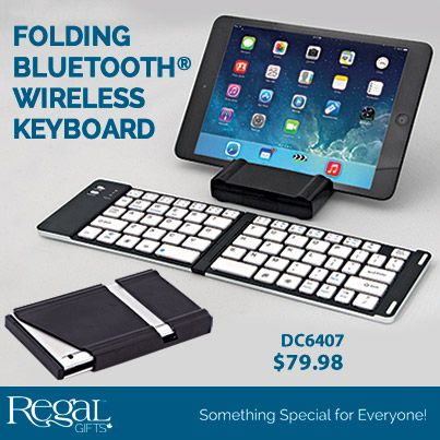 """Easily connect to your tablet or Smartphone wirelessly with Bluetooth® to type up notes or emails. Folds to only 6""""L x 3-1/2""""W and the protective carrying case easily turns into a stand to hold your device. Includes micro USB charging cable to recharge the lithium batteries.  #DC6407 www.Regal.ca"""
