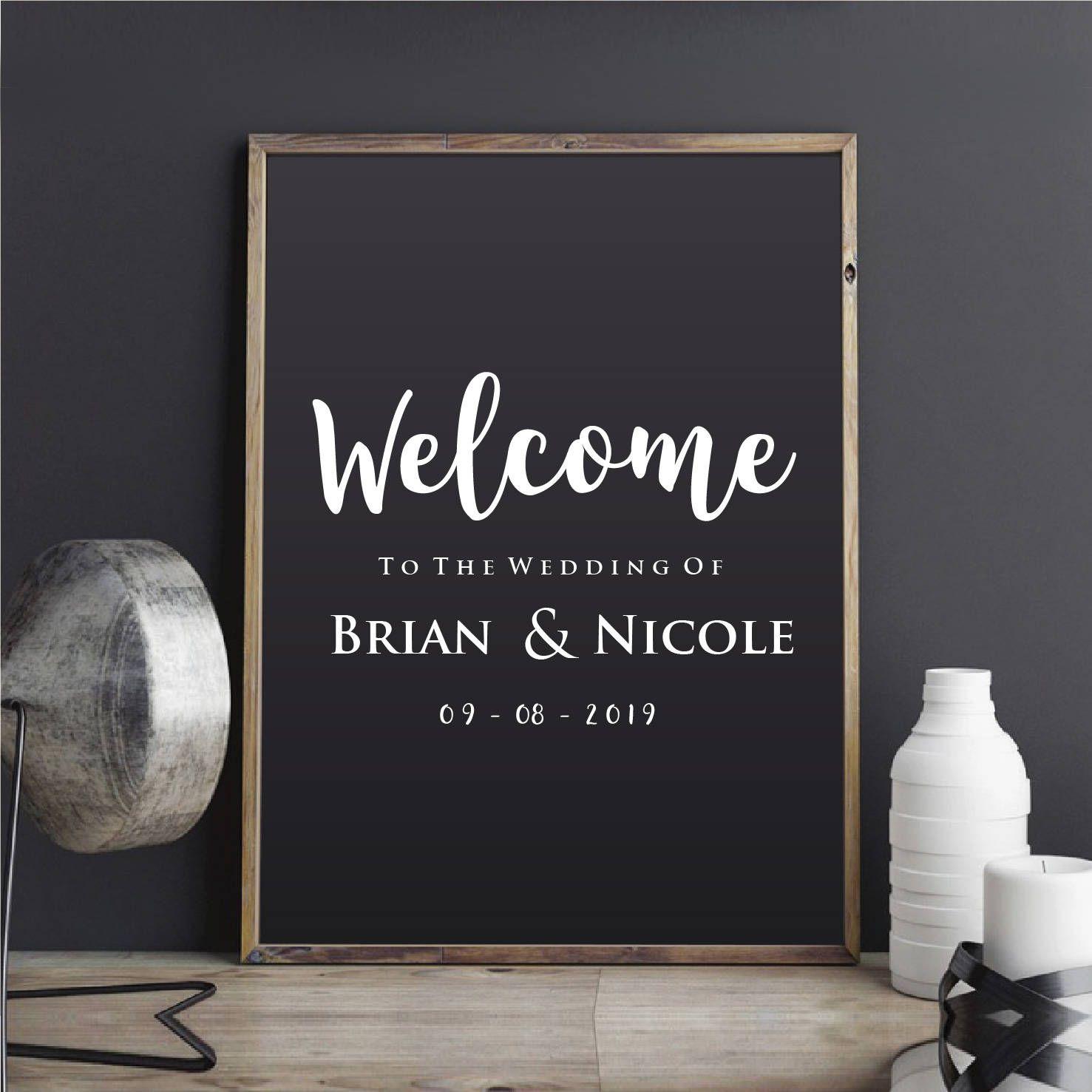 Welcome Wedding Sticker Custom Wedding Sign Personalised Wedding Decal Black