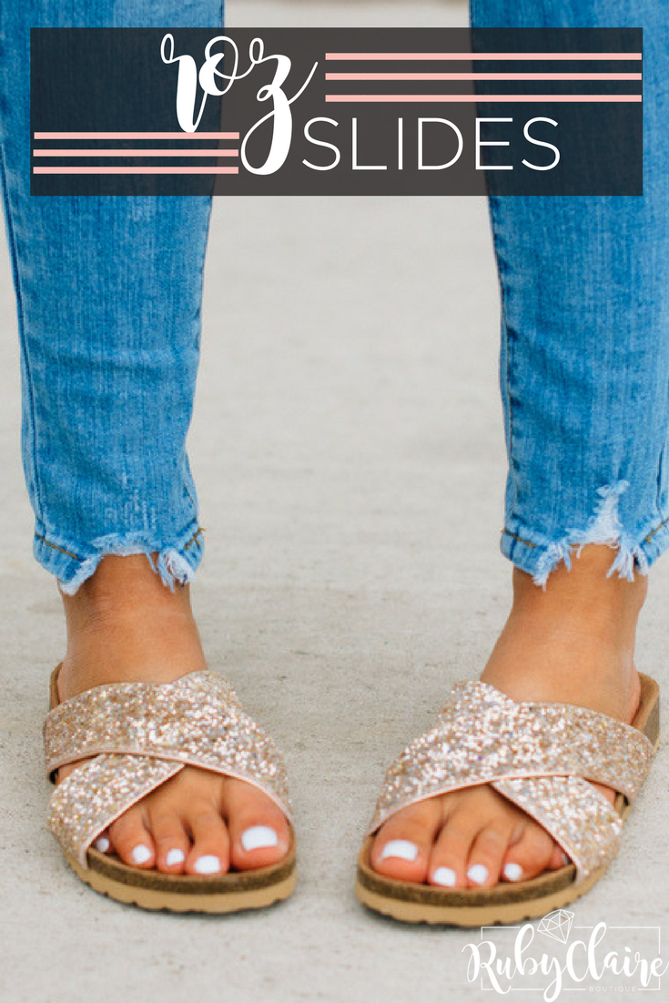 9ae5fa48a Criss cross glittered slides are the perfect option for adding a subtle  texture and shine to your favorite summer looks!