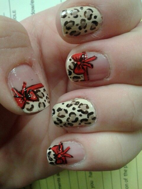 Leopard print with red bows